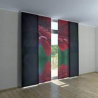 Японские фото шторы цветок