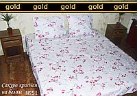 """Півтораспальний постільний комплект бязь Gold """"Рожева сакура на білому """""""