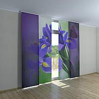 Японские фото шторы бабочки на цветах