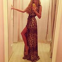 Женское шифоновое платья в пол золотого песка