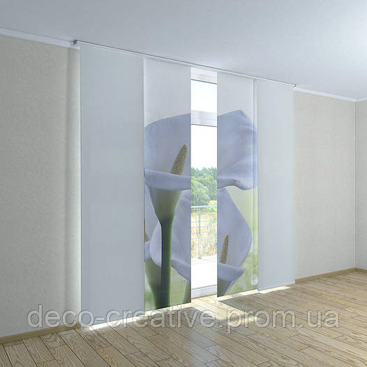Японские фото шторы белые цветы