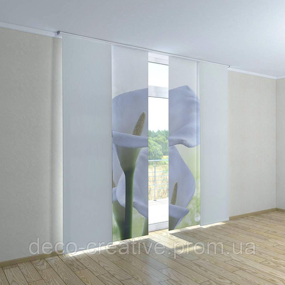 Японские фото шторы белые цветы - Интернет магазин deco-creative в Черниговской области