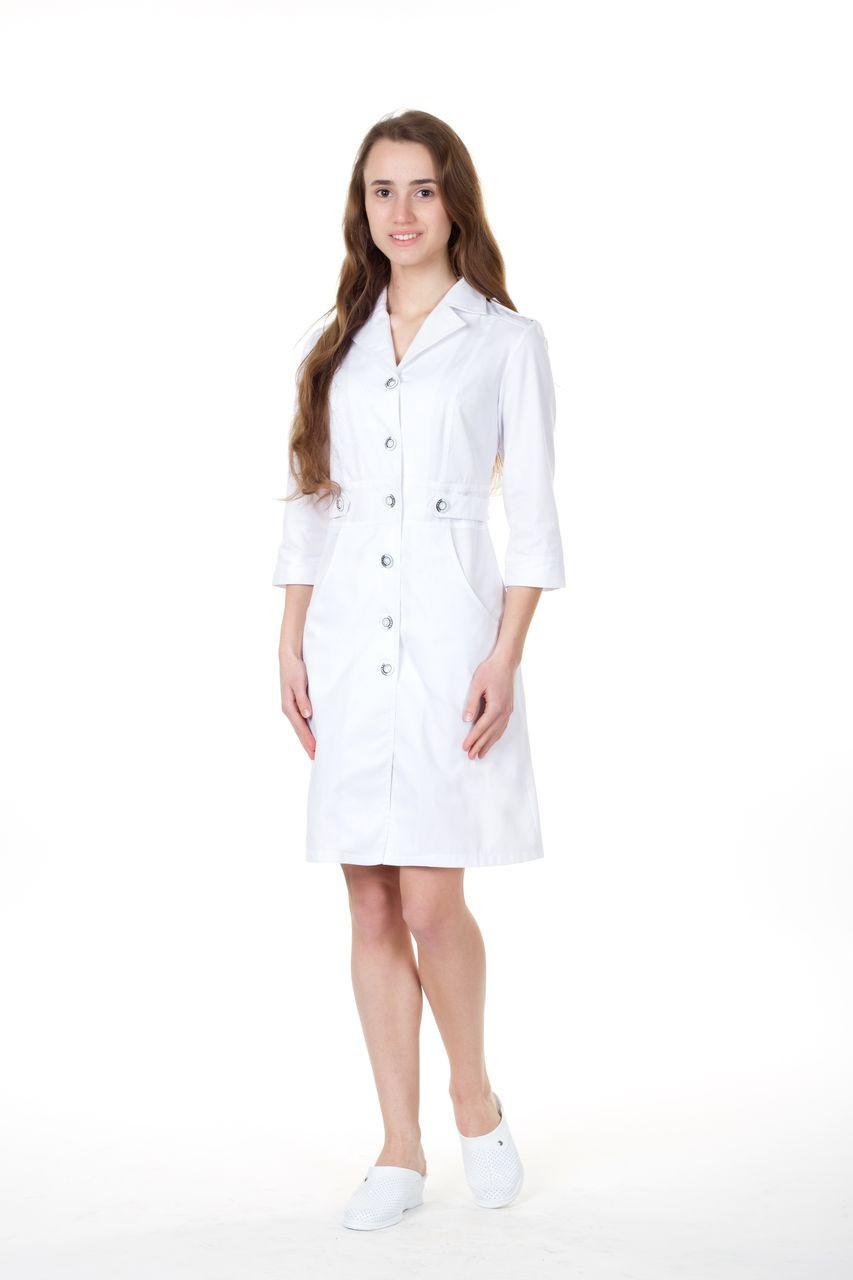 Білий медичний жіночий халат