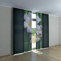 Японские шторы магнолия на бамбуке