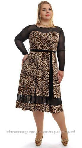 Платье женское полу батал, со вставками сетки
