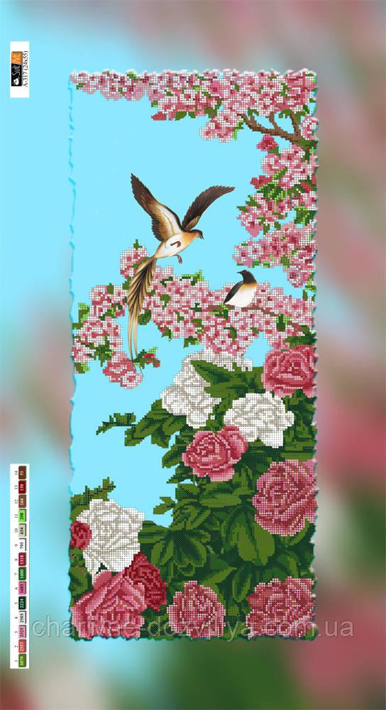 """Схема для вышивки бисером на подрамнике (холст) """"Розы и сакура"""""""