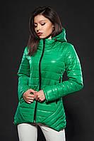 Молодежная женская демисезонная куртка. Цвет ярко зеленый. Код модели К-73-12-16.