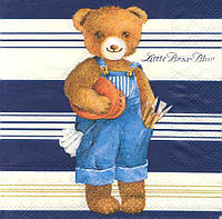 Салфетка декупажная Мишка на синем фоне 1409