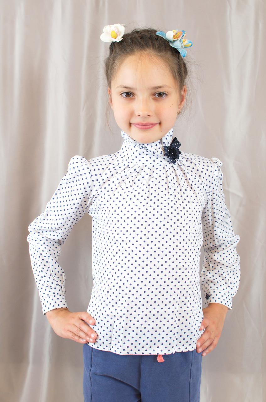 Нарядна модна х/б блуза в горошок з бантиком на дівчинку.