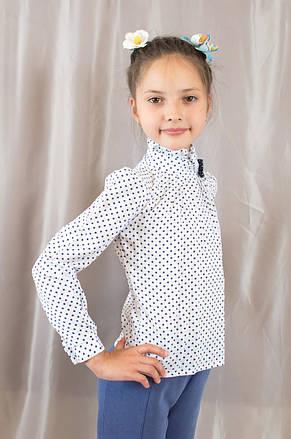 Нарядна модна х/б блуза в горошок з бантиком на дівчинку., фото 2