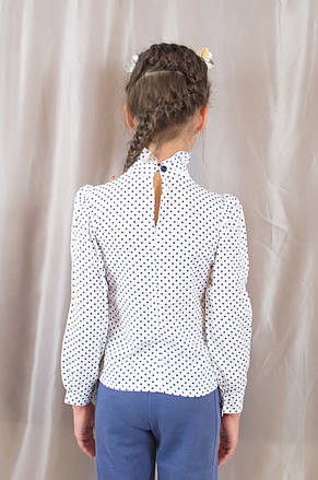 Нарядна модна х/б блуза в горошок з бантиком на дівчинку., фото 3