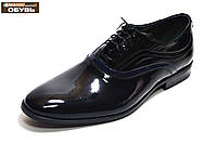 Осенние мужские туфли классические из черной лакированной кожи