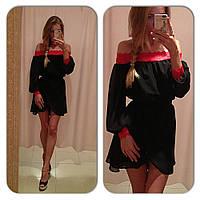 Женское короткое платье золотой песок с черным кружевом
