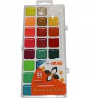Краски акварельные Гамма Оранжевое солнце 24 цветов в пластиковой упаковке (212084)