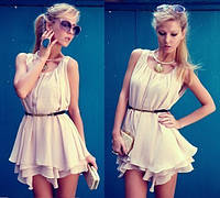 Женское короткое платье шифоновое с юбкой пышной