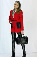 Модное кашемировое полупальто красного цвета  с карманами из эко кожи