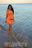 Женское короткое платье шифоновое с юбкой рюш