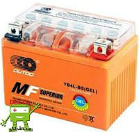 Аккумулятор MOTO YTX 4L-BS(GEL) OUTDO (12V, 4A)