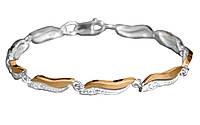 Серебряный браслет женский с золотыми пластинами арт. u135b.
