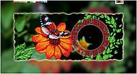 """Схема для вышивки бисером на подрамнике (холст) """"Часы. Бабочка на цветке"""""""