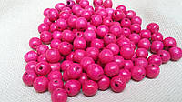 Красивые розовые бусины из дерева, 60 шт,  диаметр - 0,8 см., 10 гр.
