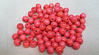 Светло розовые бусины из дерева, 60 шт,  диаметр - 0,8 см., 10 гр.