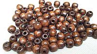 Деревянные круглые бусины, цвет - коричневый, 60 шт,  диаметр - 0,8 см., 10 гр.