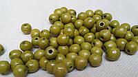 Яркие оливковые бусины деревянные, 60 шт,  диаметр - 0,8 см., 10 гр.
