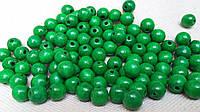 Круглые бусины ярко-зеленого цвета из дерева, 60 шт,  диаметр - 0,8 см., 10 гр.