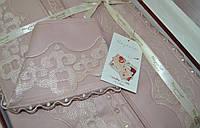 Кружевное постельное белье Nazenin satin wedding MILENA розовый
