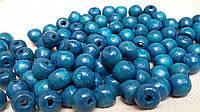 Деревянные круглые бусины, цвет - голубой, 60 шт,  диаметр - 0,8 см., 10 гр.