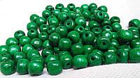 Темно-зеленые деревянные бусины, 60 шт,  диаметр - 0,8 см., 10 гр.