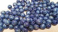 Круглые бусины сизо-синего цвета из дерева, 60 шт,  диаметр - 0,8 см., 10 гр.