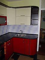 Кухня «Ваниль с Красным» глянец