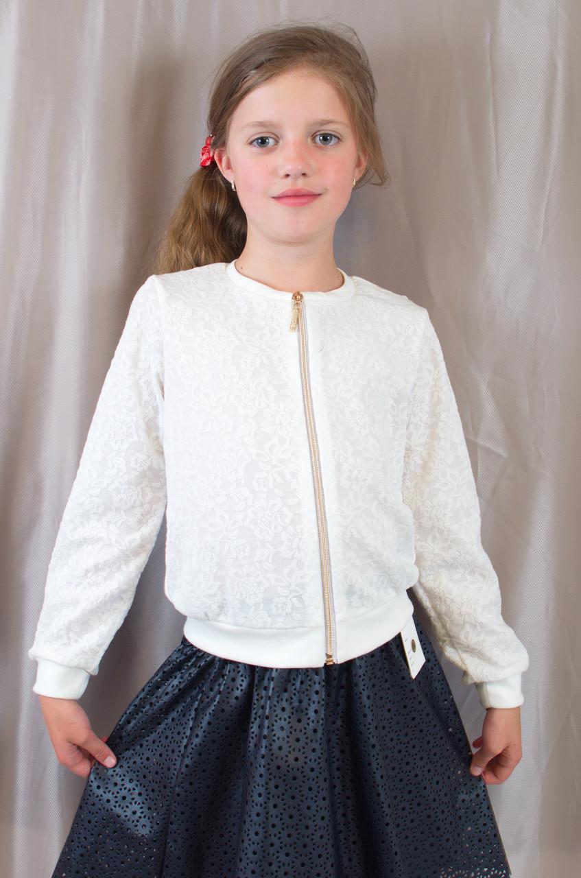 Детская школьная блузочка с длинным рукавом гипюр р. 128,134,140,146.