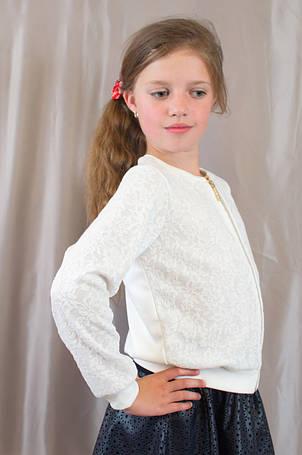 Дитяча шкільна блузочка з довгим рукавом гіпюр р. 128,134,140,146., фото 2