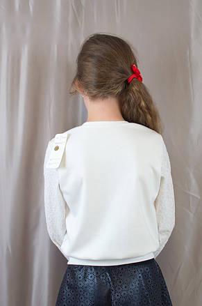 Детская школьная блузочка с длинным рукавом гипюр р. 128,134,140,146., фото 3