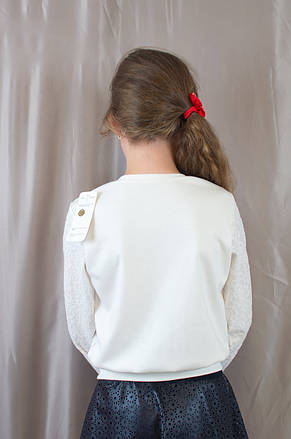Дитяча шкільна блузочка з довгим рукавом гіпюр р. 128,134,140,146., фото 3