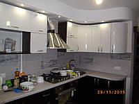Кухня «Белая с Черным» глянец