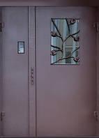 Металлические двери с оконным блоком №2, под домофон