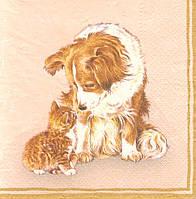 Декупажные салфетки котёнок и пёс 1423