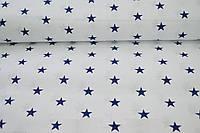Ткань с синими звездами на белом фоне, фото 1