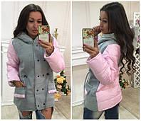 Молодежная стильная курточка осень-зима розовая красн мята