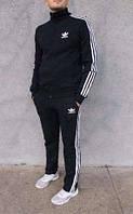 Мужской спортивный костюм Adidas. Молодежный Адидас черный с прмыми брюками, фото 1