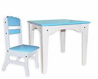 Столик и стульчик детские белый/голубой