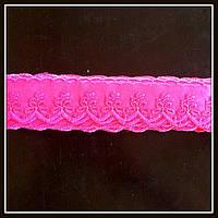 Кружево на нейлоне Бабочка, цвет розовый