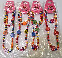 Набор Бусы+браслет для девочек деревянные