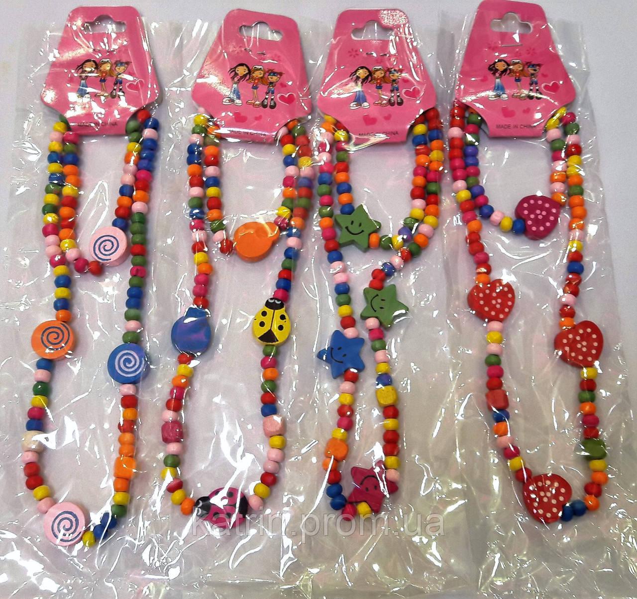 Набор Бусы+браслет для девочек деревянные  - @KATRIN@ в Одессе