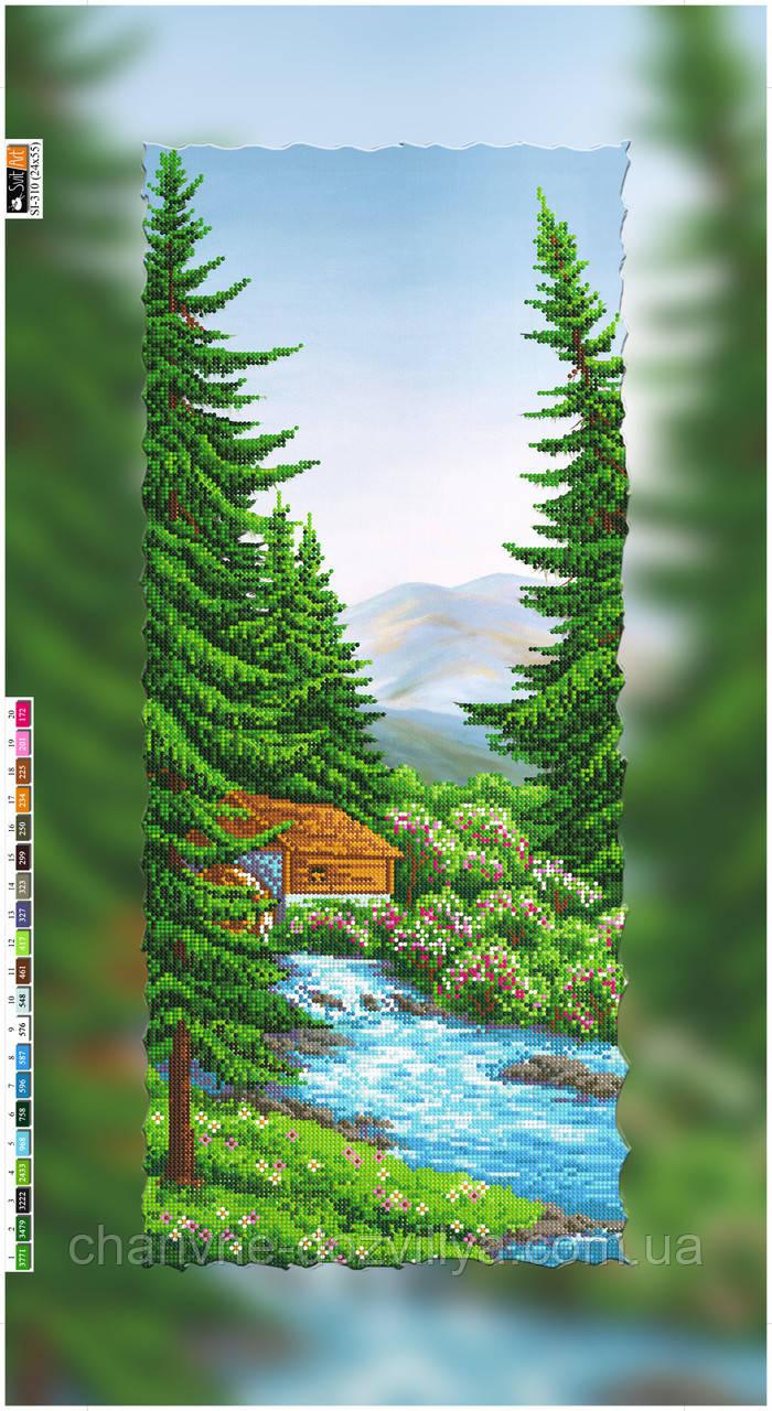"""Схема для вышивки бисером на подрамнике (холст) """"Домик в горах"""""""