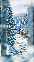 """Схема для вышивки бисером на подрамнике (холст) """"Зимний пейзаж. Домик в лесу"""""""